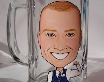 Ten Groom, Groomsmen, Best Man Caricature Beer Mugs