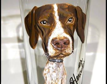 Custom Pet Caricature Pub Glass