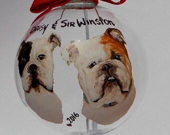 Custom Hand Painted Glass Duo Pet Ornament