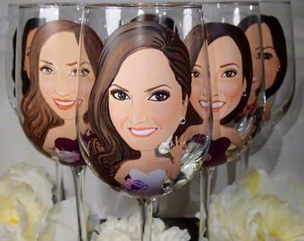 Bride, Bridesmaid, Bridal Toasting set of Five Wine Glasses