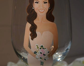 Single Bridesmaid Gift, Custom Hand Painted Wine glass