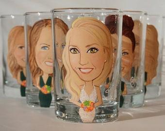 Seven Bride, Bridesmaid, Bridal Party caricature shot glasses