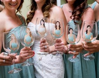 Six Bride, Bridesmaid, Bridal Party Wine Toasting Glasses