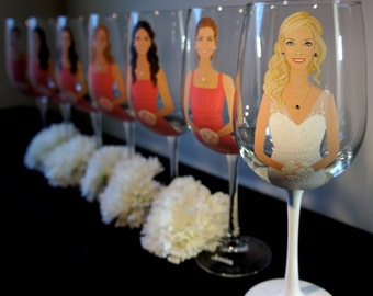 Set of 7 Bridesmaid/Groomsmen, Bridal Party Gift, Hand painted wine glasses