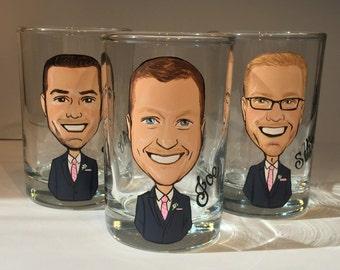 Three Groom, Groomsmen, Best Man Caricature Shot Glasses