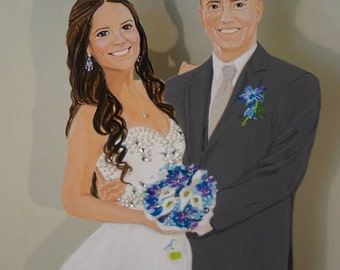 Custom Hand Painted Floating Frame for the Bride and Groom