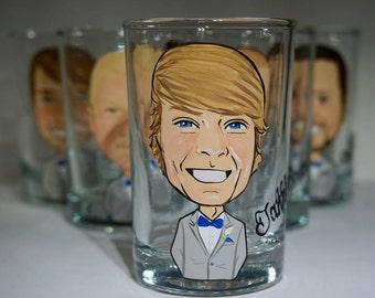 Three Groomsmen, Groom, Best Man Caricature Shot Glasses
