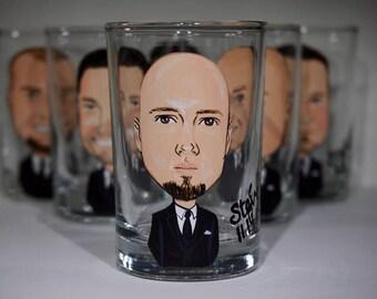 Two Groom, Groomsmen, Best Man caricature Shot glasses