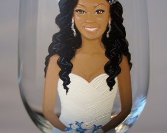 Three Bride, Bridesmaid, Bridal Party Portrait Wine Glasses