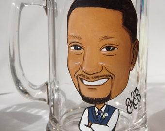 Six Groom, Groomsmen, Best Man Caricature Beer Mugs