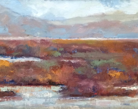 Baylands Impressions - California landscape plein air 13x7 & 10x8 oil painting framed