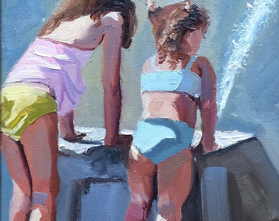 Girls at the Fountain, original figure oil painting 8x10