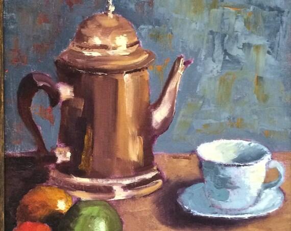 Silver Teapot - still life original oil painting 12x16 - framed