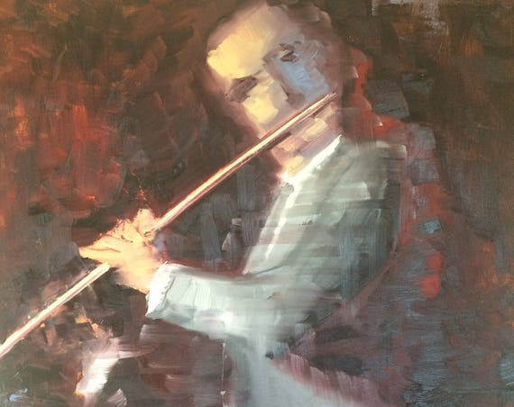 Solo, violin player original oil painting 24x36