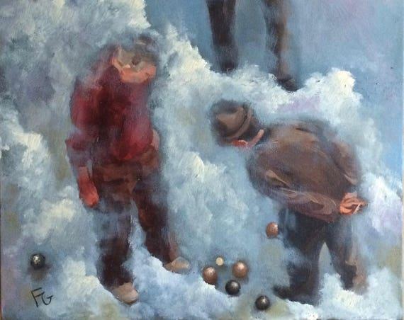 Heavenly Game, original figure oil painting 16x20