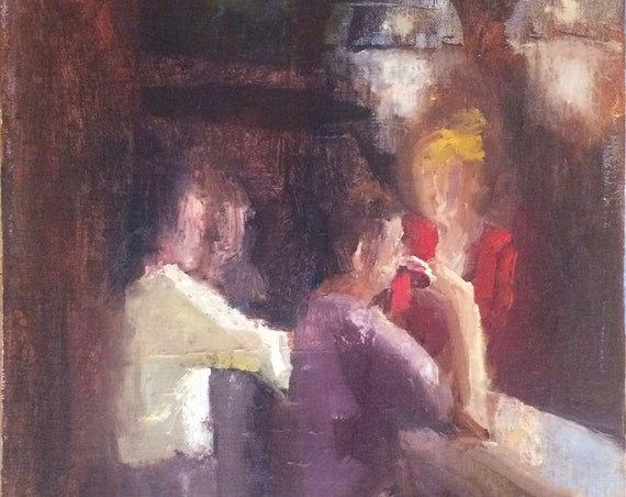 At the pub, figure original oil painting 12x12 framed