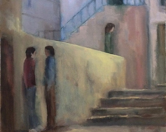 Meeting at Dusk - Italy landscape original oil painting 16x20