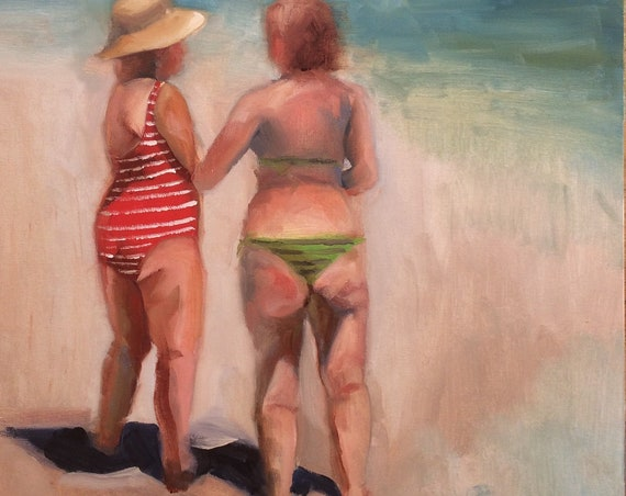 Beach Conversation, original figure oil painting 18x24