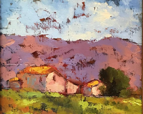 Tuscany Agriturismo, Italy original oil painting landscape 13x13 framed