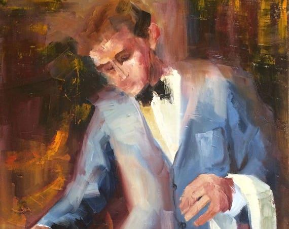 Waiter, portrait original oil painting 18x24 unframed