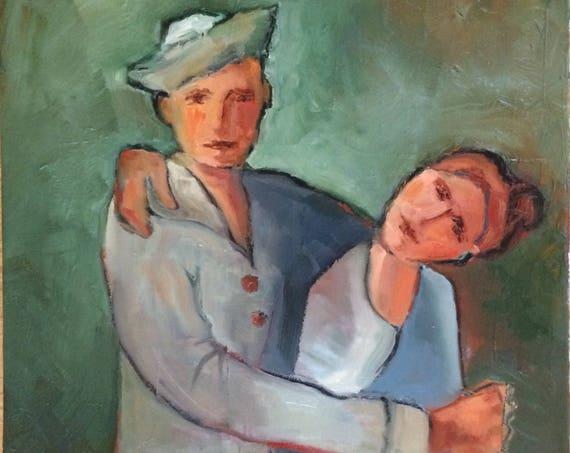 Sailor's promise, portrait original oil painting 16x20