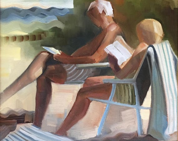 At the Beach, original figure oil painting 16x20