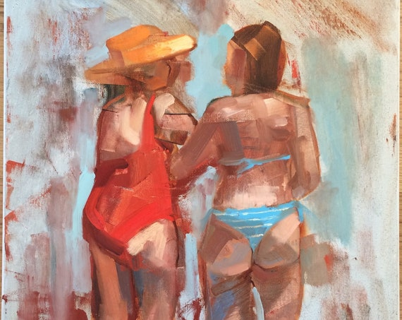 Beach Conversation Abstract, original figure oil painting 18x24
