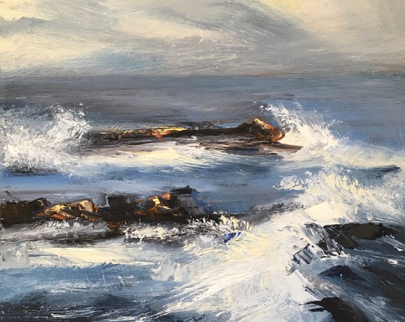Pacific Ocean - abstract seascape 12x12 original oil painting