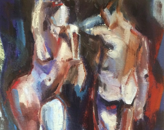 Couple, original figure oil painting 20x24