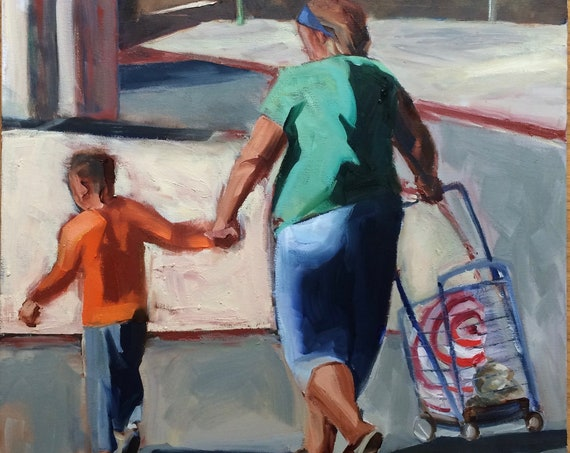 Target store, California original figure oil painting 18x24