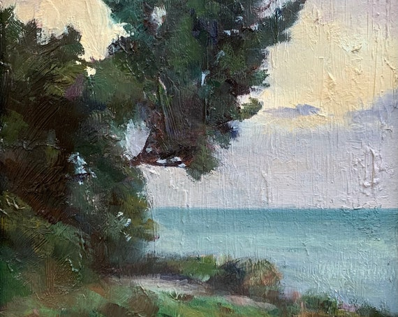 Cypress in Carmel - plein air seascape 9x12 original oil painting framed
