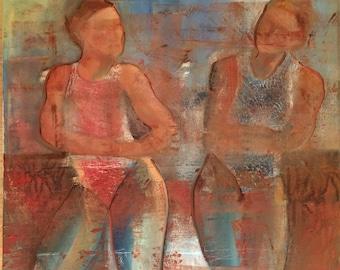 Pool Conversation, original figure oil painting 24x30