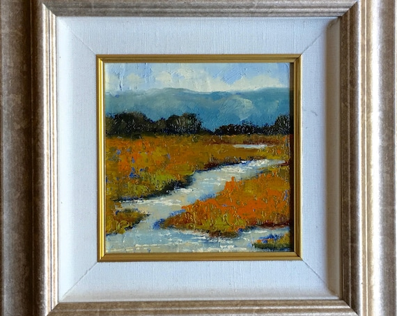 Baylands Spring and Fall - two California landscapes plein air 8x8 oil painting framed