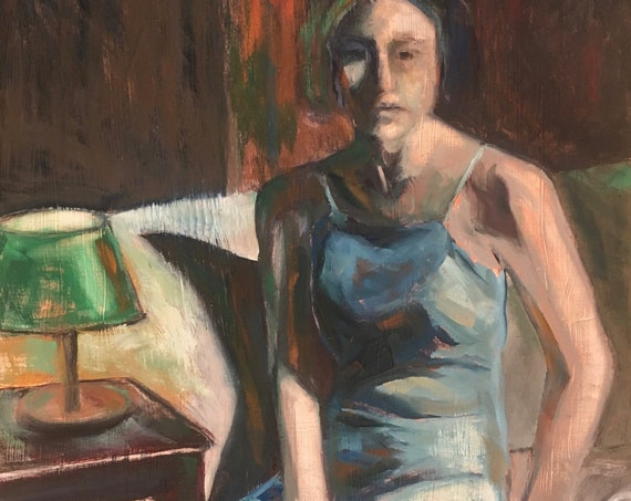 Restless Night, woman portrait original oil painting 24x30