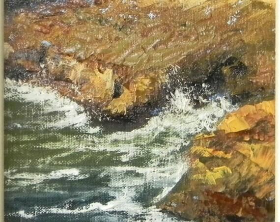 Natural Bridges Santa Cruz - plein air seascape 6x12 original oil painting framed