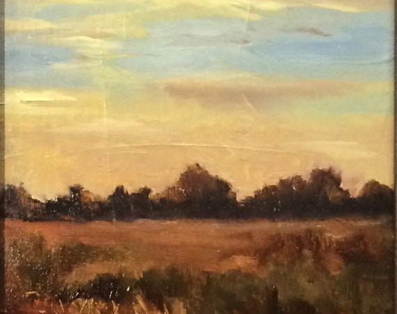 Baylands - original plein air landscape 8x16 oil painting