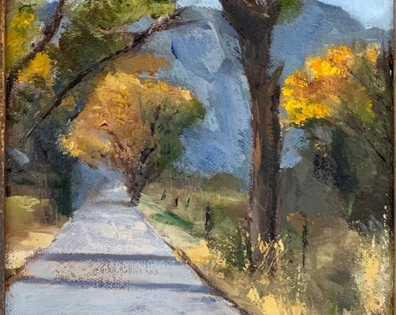 Lindens avenue - California original landscape 6x12 oil painting framed