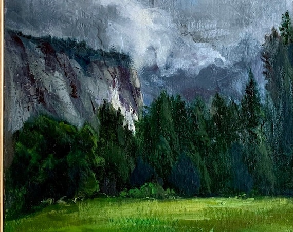 Winter in Yosemite, California landscape original plein air oil painting 9x12 framed