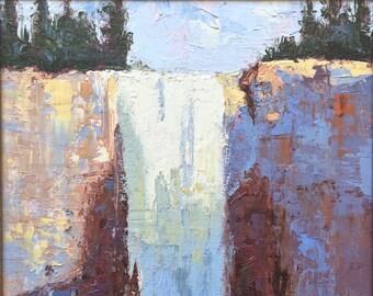 Yosemite Vernal Fall, California landscape original plein air oil painting 11x15 framed