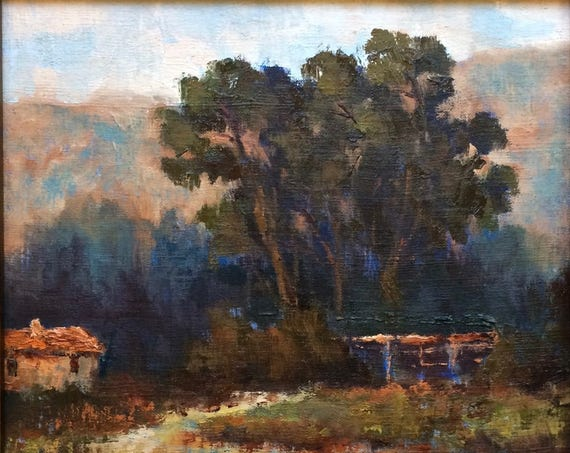 Horse Stable - California landscape plein air 12x12 oil painting square