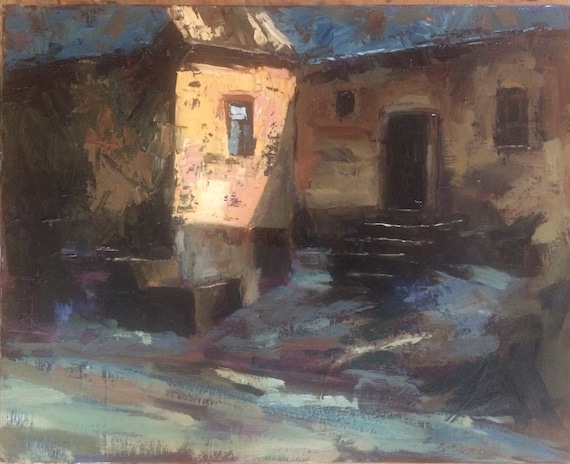House in East Europe - landscape oil painting unframed 20x16