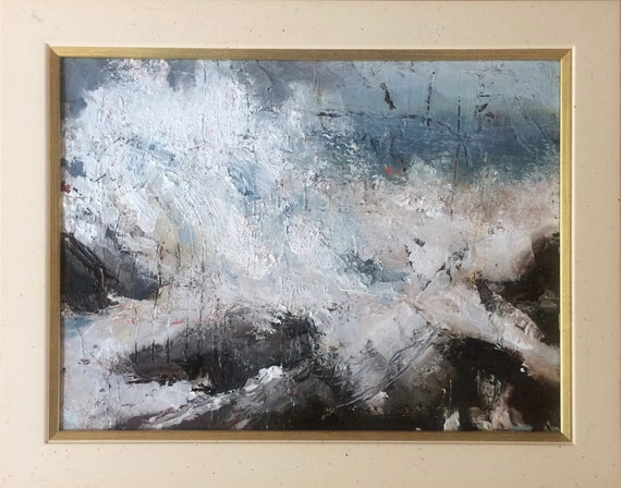 White Splashes - abstract seascape 12x9 original oil painting framed