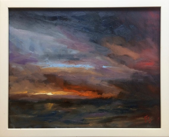 Sea Sunset - seascape plein air 20x16 oil painting framed