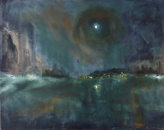 Ocean by night - abstract seascape 20x16 original oil painting