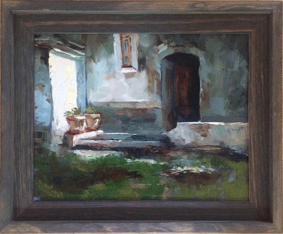 Vases - landscape oil painting framed 11x14