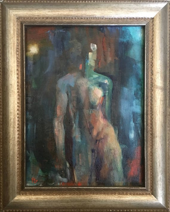 Genesis, original abstract figure oil painting 9x12