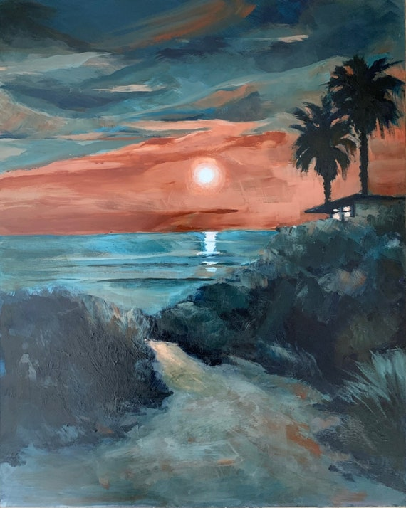 Sunset and Palms - seascape plein air 16x20 acrylic painting unframed