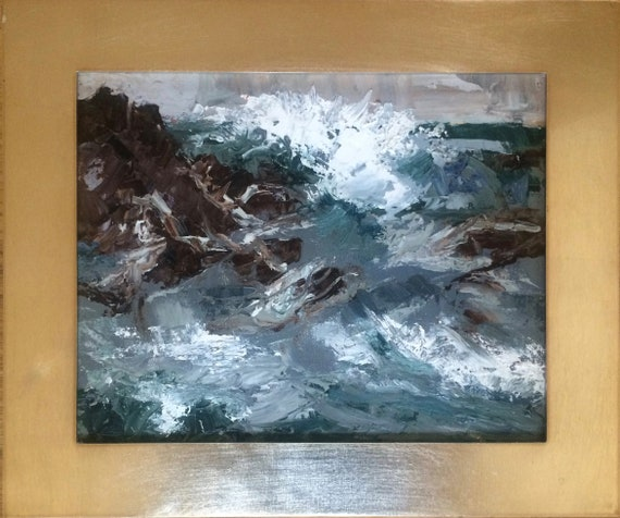 Green Storm - abstract seascape 10x8 original oil painting framed