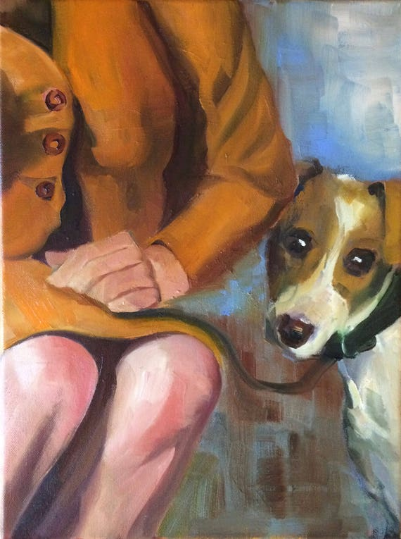 Her Dog, portrait original oil painting 12x16