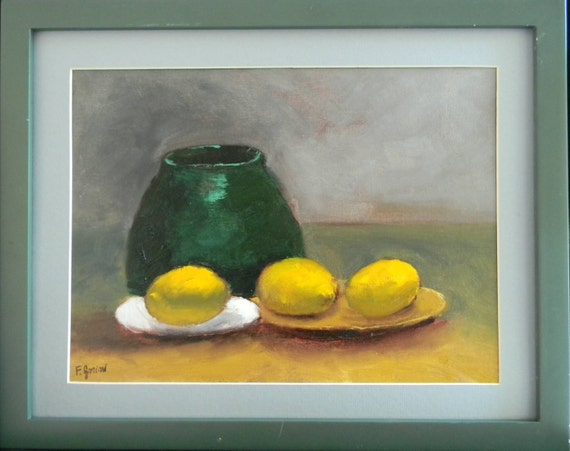 Lemons & Green Vase still life original oil painting 16x12 unframed